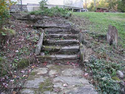 stone stairs in front of house